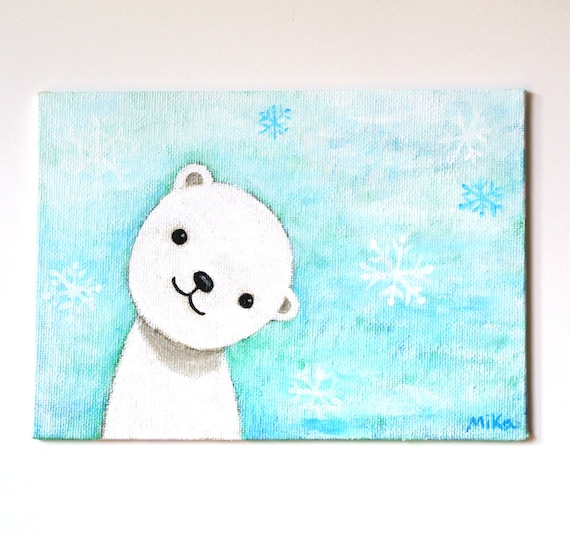 Popular Items For Nursery Decor On Etsy Baby Shower: Items Similar To ORIGINAL PAINTING Polar Bear Nursery Art