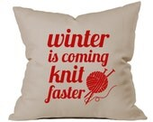 Knitters Gift, Accent Pillow, Large Throw Pillow, Gift for Knitter, Knitting Needles, Gift for Grandmother, Gift for Mom, Knitters Pride