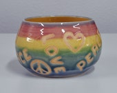 Rainbow Peace Love Bowl Colorful Stoneware Bowl Handmade Pottery by Bonnie Stowe