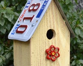 Birdhouse - Recycled License Plates - Sunflower Yellow - Faucet Handle