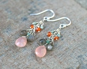 Pink Chalcedony, Labradorite, Amazonite and Orange Carnelian Multi Gemstone Wire Wrapped Sterling Silver Handmade Earrings