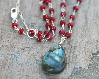 Ruby and Labradorite Gemstone, Sterling Silver Wire Wrapped Handmade Necklace, 17 Inch Necklace Handmade