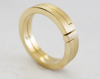 Puzzle Stacking Wedding Band | Yellow White Rose Gold | 14k 18k Recycled Gold | Non Traditional Bridal Alternative Wedding Bands