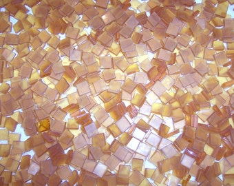 Mini Frosted Amber Tumbled Stained Glass Mosaic Tiles