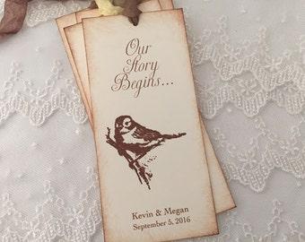 Wedding Favors Bookmarks Vintage Style Bird Set of 10