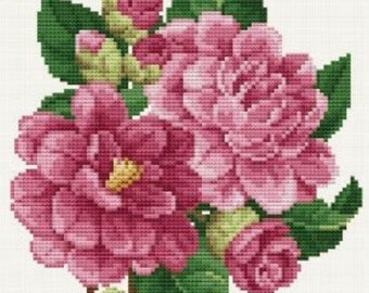 Cross Stitch Pattern, Pink Peonies Counted Cross Stitch Pattern, by Ellen Maurer-Stroh, WI
