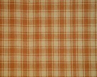 FLAWED Cotton Homespun Fabric | Plaid Fabric | Quilt Fabric | Home Decor Fabric | Craft Fabric | Light Brown Plaid Fabric | 1 Yard