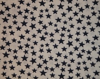 Scattered Star Fabric | White With Navy Star Fabric | Quilt Fabric | Home Decor Fabric | Apparel Fabric | Americana Fabric | 1 Yard