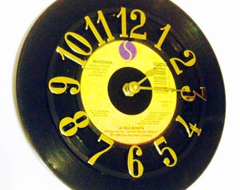 Vinyl Record Clock, Record Clock, Wall Clock, Madonna Record, Recycled Record, Upcycle, Battery & Wall Hanger included, Item #97