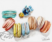 Macaron Heaven! cookies and lego fun art for kids ORIGINAL watercolor painting by Redstreake