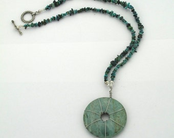 Blue Green Turquoise Chalcedony Necklace Spiritual Wire Wrap Donut ( Free US Shipping)