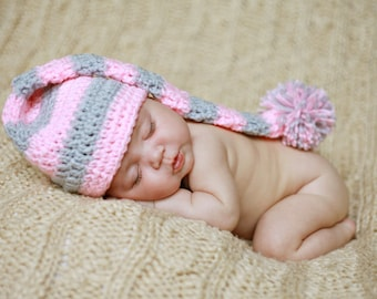 Crochet Baby Elf Hat, Photography Prop, Christmas Baby Elf Hat, Twin Hats, Baby Boy, Baby Girl, You pick size and color, Ready to Ship