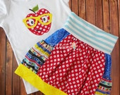 Back To School Outfit - Apple Applique Shirt - Knit Waist Bubble Skirt with Pockets - Made to Order