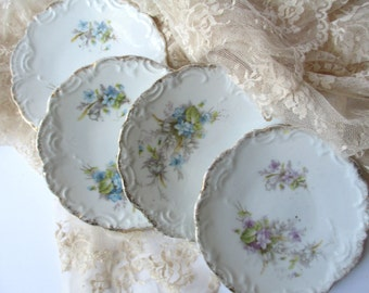 Vintage Pink Blue Floral Dainty Dessert Plates Set of Four Weddings Tea Parties