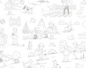 Fog City Kitty---Children's Toile in Pewter---1 yard---Pam Kitty Morning for Lakehouse Dry Goods