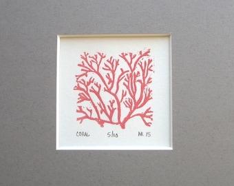 Coral print - gray mat