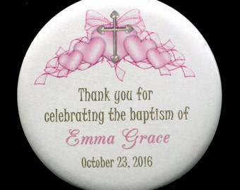 Baptism Favor - Magnet - Baby Girl - Personalized - Baptism Magnet Favor -Christening - Pink Cross With Hearts
