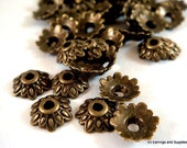 50 Antique Bronze Bead Caps Antique Flower Tibetan Style LF/NF 7mm - 50 pc - F4113BC-AB50