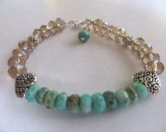 Turquoise & Crystal Beaded Bracelet With Sterling Hearts