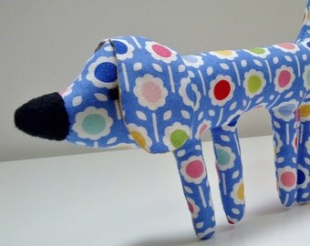Little Plush Dog in Blue Lollipop Flower Fabric, Pocket Puppy Funky Flower Soft Toy Dog