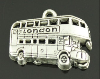 3x (20mm x 25mm) Silver Plated London Bus Charm