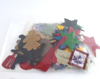 Corrugated Embellishments - big bag of corrugted shapes, colorful shapes, scrapbooking, greeting cards, paper arts, collage craft supply