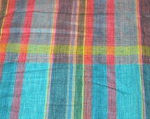 SALE vintage 80s madras cotton fabric featuring great plaid patchwork print, 1 yard, 2 available, priced PER YARD