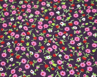 SALE vintage 70s cotton fabric, featuring super-cute calico floral print, 1 yard, 15 inches