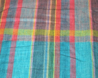 vintage 80s madras cotton fabric featuring great plaid patchwork print, 1 yard, 2 available, priced PER YARD