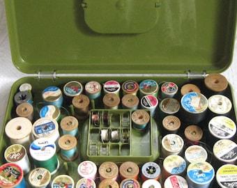 Sewing Box . Avocado Green Sewing Box . Wil-Hold Sewing Box