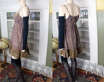 Vintage 80's 60's 70's vibe boho mini dress India sundress spaghetti strap tank dress sequins brown earthy ruffle summer short dress cotton