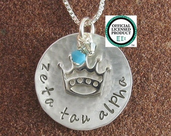 Zeta Tau Alpha Necklace,ΖΤΑ Sterling Silver Necklace with Crown Charm and Swarovski Crystals, ZTA Bid Day,Initiation/OLP
