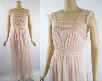 Vintage 1960s Nightgown Pink Nylon and Chiffon Negligee by Luxite Sz 34
