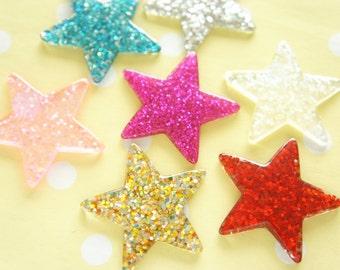 7 pcs Big Glitter Star Cabochon (32mm39mm) IK149