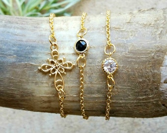 Mediterranean Desert Collection, Gold, Black, Cross, Gem, Chain, Gift, Cubic Zirconia
