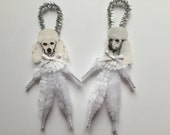 POODLE ornaments dog ORNAMENTS vintage style chenille ornaments set of 2