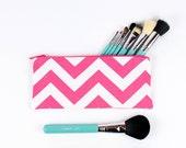 "9"" Makeup Brush Bag, Pencil Case, Chevron hot pink and white"