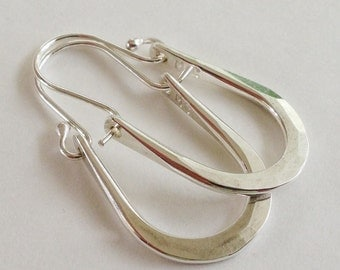 Petite Maria Hammered Sterling SIlver Hoops Earrings U Shape