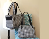 Travel Bag Set Custom Made for You in Black and White Houndstooth or fabric of choice