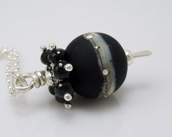 Black and Silver Pendant, Lampwork Glass and Black Spinel Pendant, Beaded Pendant