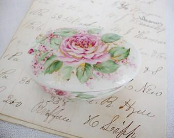 vintage english rose otagiri porcelain trinket box