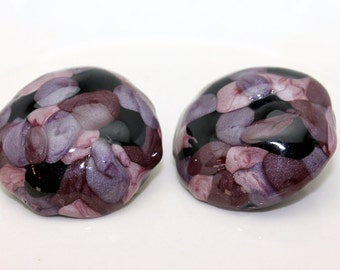 Vintage 1980's Earrings Shades of Purple and Black Bold Post Earrings
