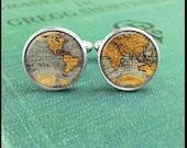 World Map Cufflinks, Map Cuff Links, Cufflinks for Men, World Map Cuff Links, Gift for Him, Men Accessories, Custom Silver or Brass