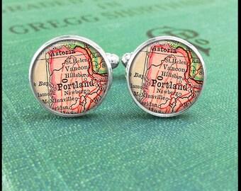Silver or Brass Cufflinks -Portland Oregon City Map- Wearable Art- Handmade by Lisa Owens