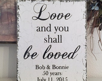 WEDDING SIGNS   Love and you shall be loved   Personalized Wedding Signs   10 x 12   Vintage Chic Wedding Signs
