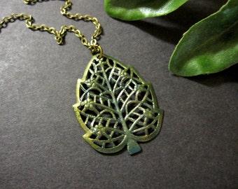 Leaf Necklace, Nature Inspired, Green Leaf, Patina, Leaf Pendant, Filigree Leaf, Woodland Necklace, Plant, Leaves, Nature Jewelry, For Her
