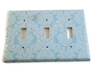 Triple Light Switch Cover Wall Decor Switchplate Switch Plate in  Baby Blue Damask  (194T)