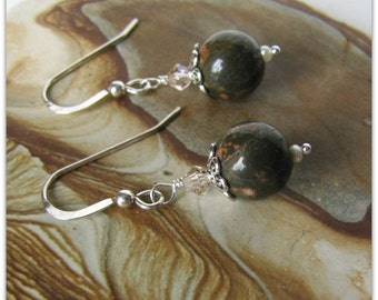 Rhyolite Earrings, Gemstone Earrings, Beaded  Earrings, Dangle Earrings, Green Earrings, .925 Sterling Silver Earwires dangle earwires  1128