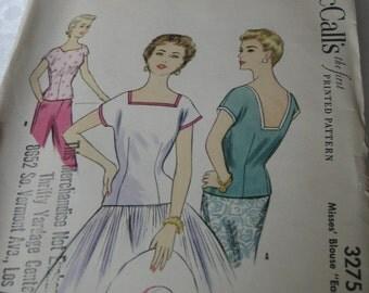 VINTAGE 3275 UNcut McCalls Blouse Clothes Sewing Pattern 1950s