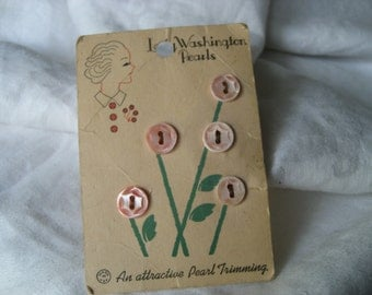 Set of 5 VINTAGE Carved Dyed Pink Shell BUTTONS